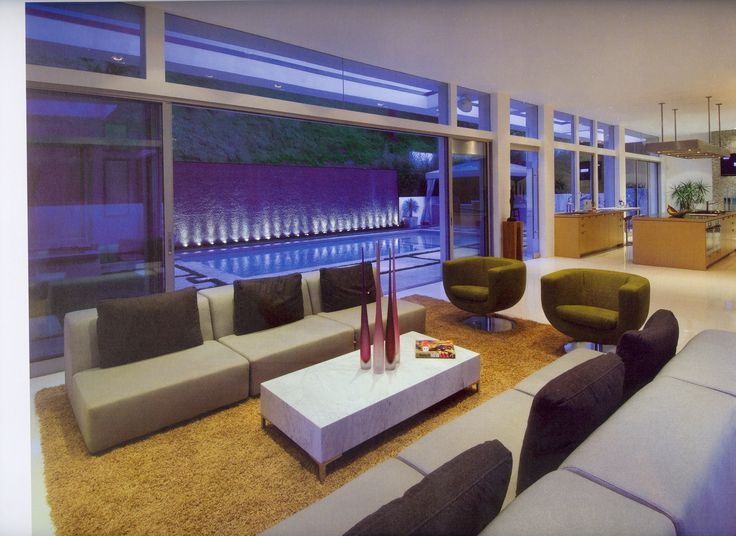Mod living room to outdoor pool deck uplighting on far for Living room uplighting