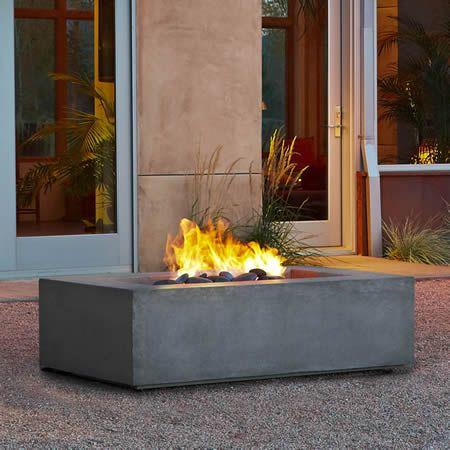 Real Flame Baltic Rectangle Fire Table Glacier Gray Ng