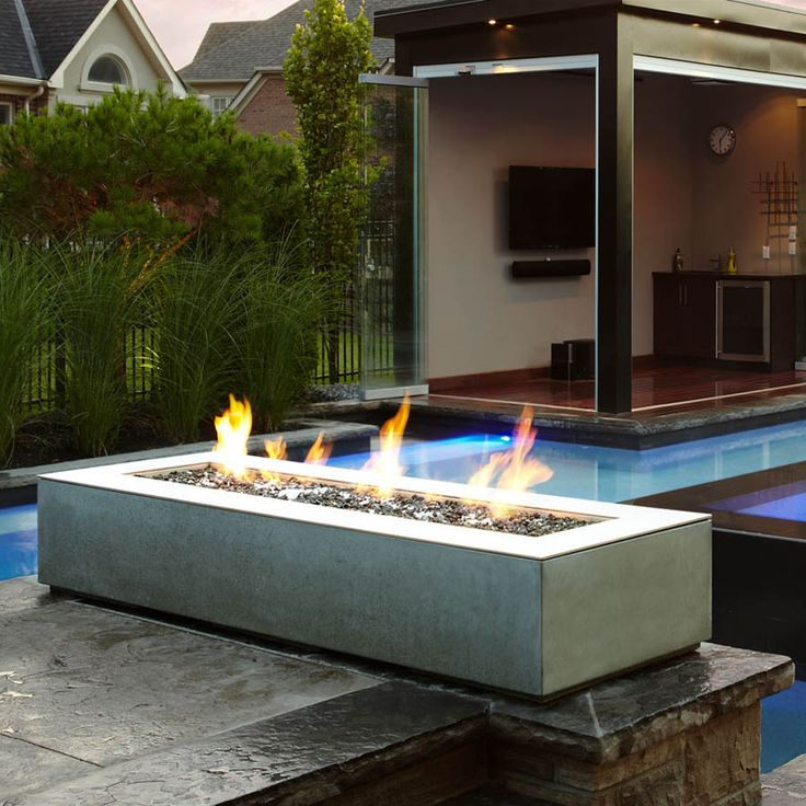 Paloform robata modern rectangular concrete outdoor fire for Prefab fire pits